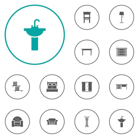sink: Set Of 12 Decor Icons Set.Collection Of Bookcase, Cupboard, Sink And Other Elements.