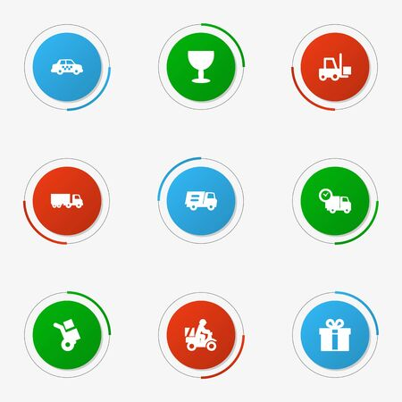 Set Of 9 Shipment Icons Set.Collection Of Van, Transportation, Goblet And Other Elements.