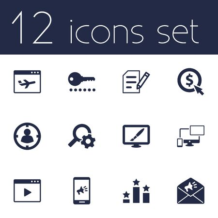 Set Of 12 Optimization Icons Set.Collection Of Responsive, Marketing, Targeting And Other Elements.
