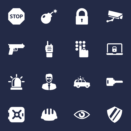 Set Of 16 Procuring Icons Set.Collection Of Shot, Open, Surveillance And Other Elements. Illustration