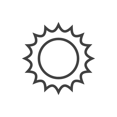 Isolated Solar Outline Symbol On Clean Background. Vector Sun Element In Trendy Style.