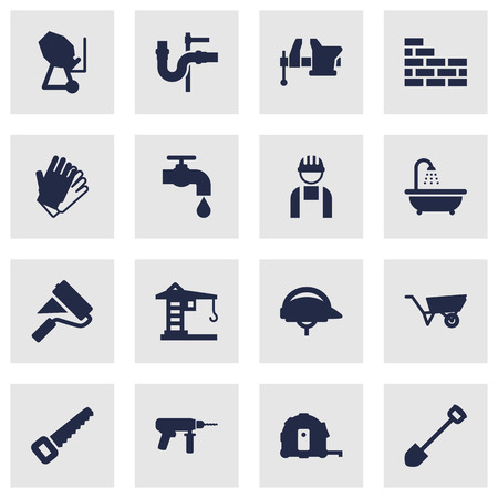 Set Of 16 Work Icons Set.Collection Of Hacksaw, Clamp, Building Machinery And Other Elements.