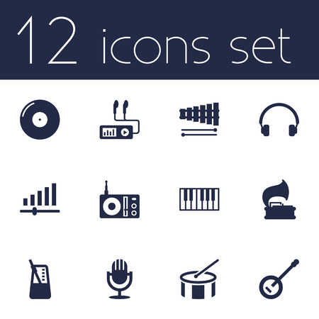 metronome: Set Of 12 Melody Icons Set.Collection Of Radio, Banjo, Retro Disc And Other Elements.