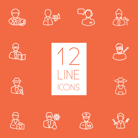 scholarly: Set Of 12 Job Outline Icons Set.Collection Of Artist, Reporter, Policeman And Other Elements.