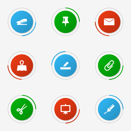 Set Of 9 Stationery Icons Set.Collection Of Clip, Mail, Clippers And Other Elements.