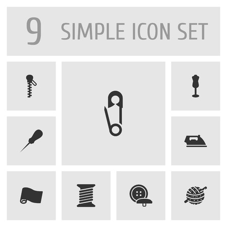 Set Of 9 Sewing Icons Set.Collection Of Fastener, Roll, Pintle And Other Elements. Illustration