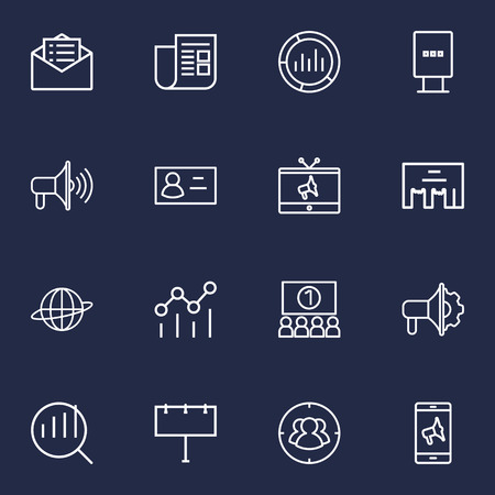 Set Of 16 Advertising Outline Icons Set.Collection Of Stand, Target, Brand Awareness Elements. Illustration