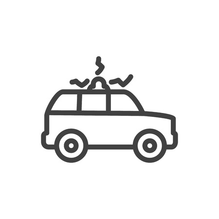 Isolated Suv Outline Symbol On Clean Background. Vector Siren  Element In Trendy Style.