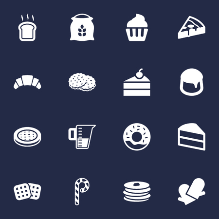 Set Of 16 Cooking Icons Set.Collection Of Cake, Muffin, Custard And Other Elements.