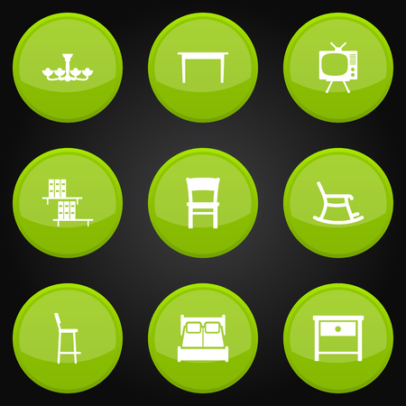 Set Of 9 Set Icons Set.Collection Of Bookcase, Rocking Furniture, Luster And Other Elements.