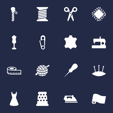 Set Of 16 Tailor Icons Set.Collection Of Pins, Cutter, Mannequin And Other Elements.