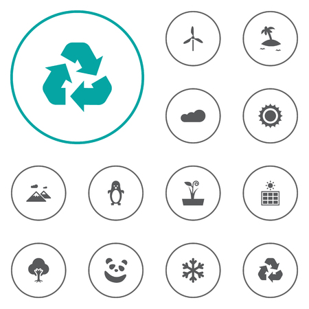 Set Of 12 Natural Icons Set.Collection Of Overcast, Wind Energy, Tree And Other Elements.