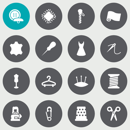 Set Of 16 Tailor Icons Set, Collection Of Seamstress, Cutter, Mannequin And Other Elements.
