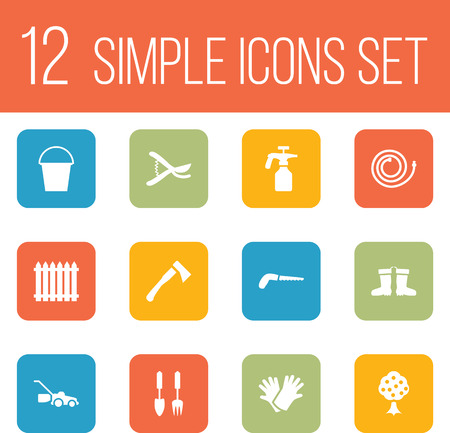 pruner: Set Of 12 Horticulture Icons Set.Collection Of Bucket, Lawn Mower, Latex And Other Elements. Illustration