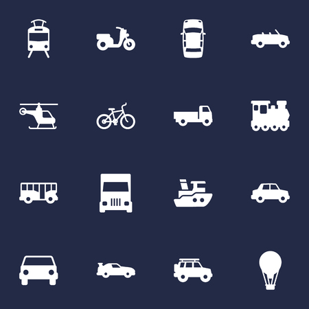 Set Of 16 Traffic Icons Set.Collection Of Bicycle, Hatchback, Airship And Other Elements. Illustration