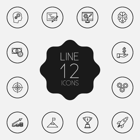 preference: Set Of 12 Strategy Outline Icons Set.Collection Of Brain, Startup, Target And Other Elements.