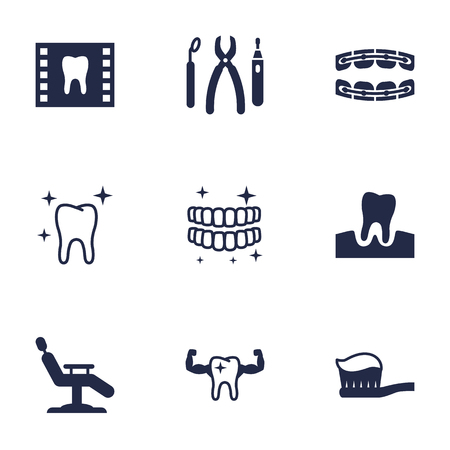 Set Of 9 Dentist Icons Set.Collection Of Roentgen, Healthful, Stabilize And Other Elements.