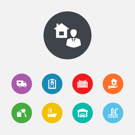 Set Of 9 Real Icons Set.Collection Of Property, Truck, Option And Other Elements.