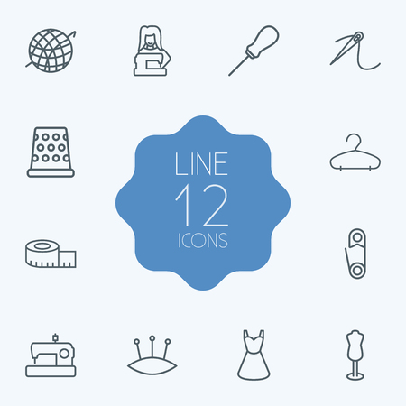 Set Of 12 Stitch Outline Icons Set.Collection Of Tremble, Crochet, Dummy And Other Elements.