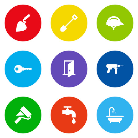 Set Of 9 Work Icons Set.Collection Of Bricklayer, Hardhat, Spade And Other Elements.