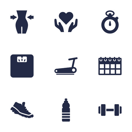 Set Of 9 Bodybuilding Icons Set.Collection Of Treadmill, Heart In Hand, Slimming Elements.