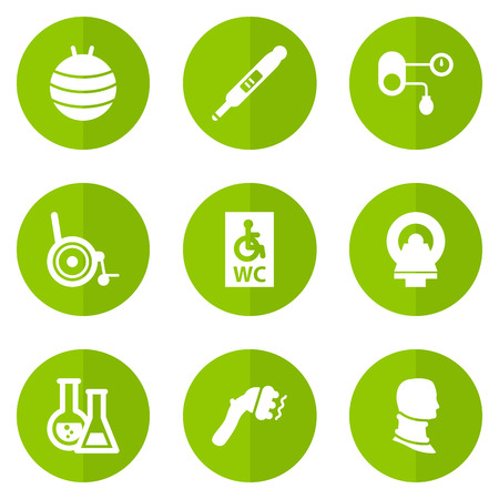 Set Of 9 Medicine Icons Set.Collection Of Machine, Broken Neck, Pilates And Other Elements. Illustration