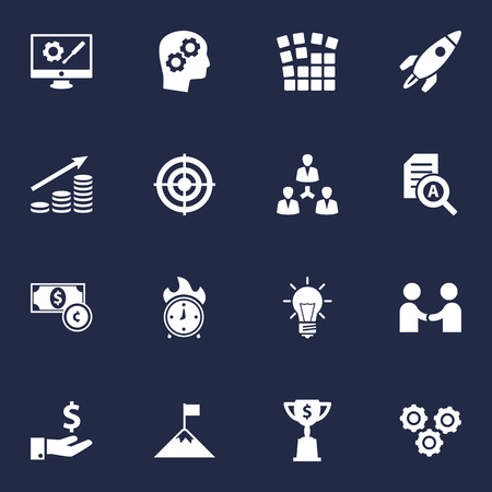 Set Of 16 Business Icons Set.Collection Of Gear, Startup Building, Bulb And Other Elements. Illustration