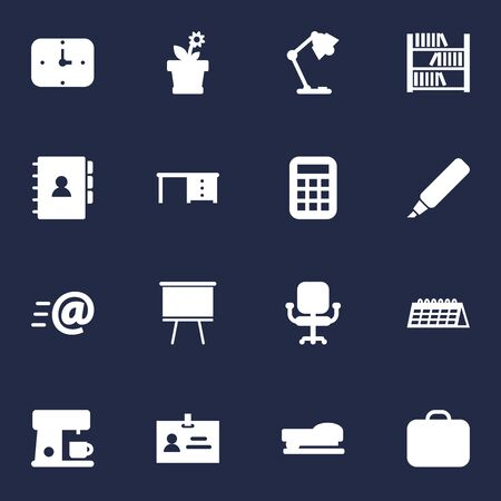 Set Of 16 Bureau Icons Set.Collection Of Message, Sew, Data And Other Elements.