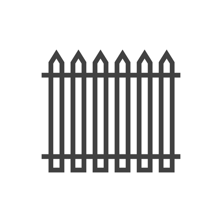 palisade: Isolated Fence Outline Symbol On Clean Background. Vector Palisade Element In Trendy Style.