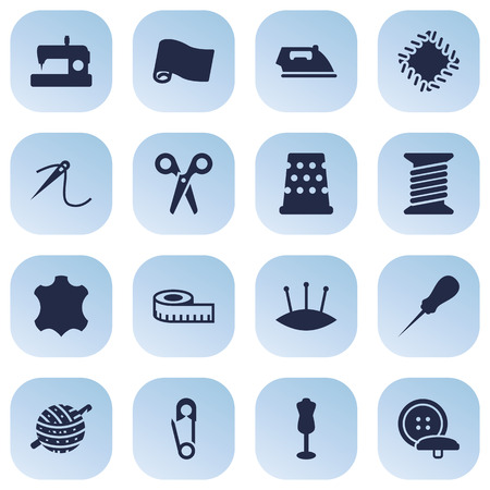 Set Of 16 Stitch Icons Set.Collection Of Knitting, Eyelet, Seamstress And Other Elements.