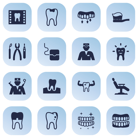 Set Of 16 Dentist Icons Set.Collection Of Prosthesis, Decay, Healthful And Other Elements.