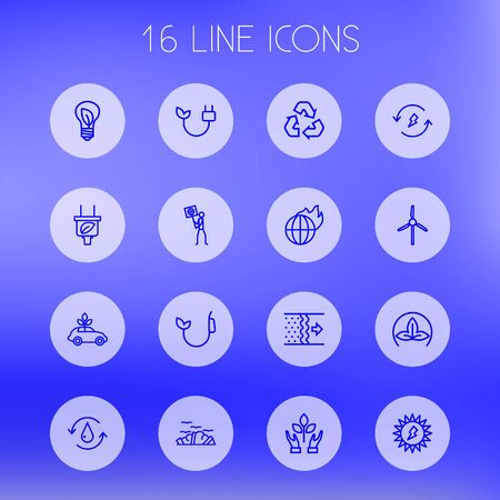 Set Of 16 Ecology Outline Icons Set.Collection Of Air, Plug, Eco And Other Elements. Illustration