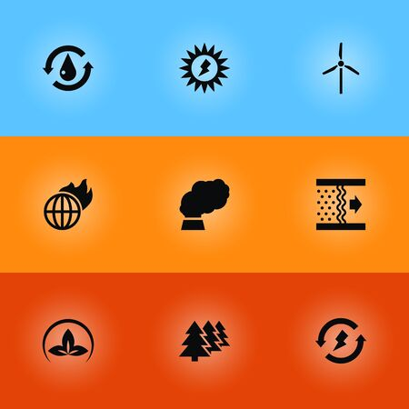 Set Of 9 Atmosphere Icons Set.Collection Of Contamination, Reforestation, Treatment And Other Elements.