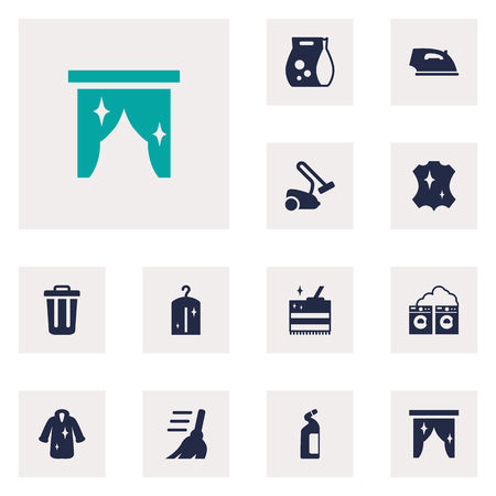 Set Of 12 Cleaning Icons Set.Collection Of Dry, Detergent, Hoover And Other Elements. Illustration