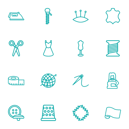 Set Of 16 Sewing Outline Icons Set.Collection Of Pincushion, Bobbin, Dress And Other Elements. Illustration