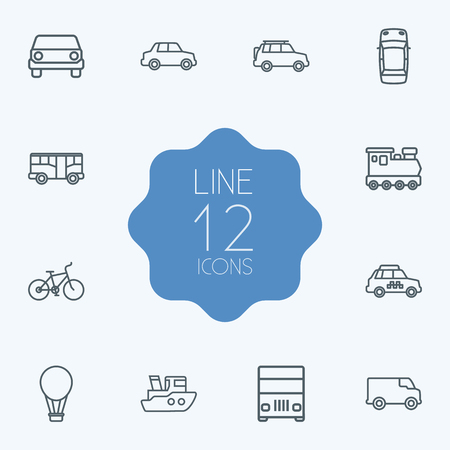 camion: Set Of 12 Traffic Outline Icons Set.Collection Of Bus, Ship, Bike And Other Elements.