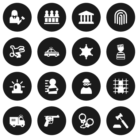 Set Of 16 Criminal Icons Set.Collection Of Thief, Jury, Judge Gavel And Other Elements.