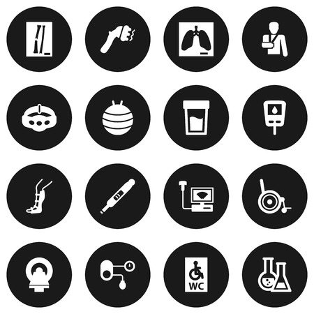 Set Of 16 Medical Icons Set.Collection Of Wheelchair Toilet, Splint, Hypertension And Other Elements.