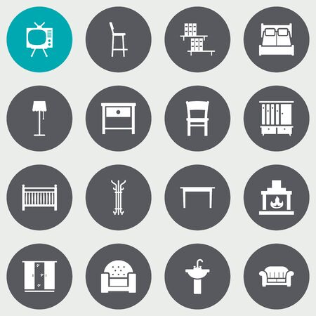 Set Of 16 Situation Icons Set.Collection Of Cupboard, Desk, Bookcase And Other Elements. Ilustração