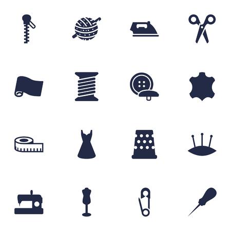 커터, 미터, 뜨개질 및 기타 요소의 16 재단사 아이콘 설정. 컬렉션의 집합입니다. 일러스트