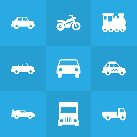 delivery service: Set Of 9 Transport Icons Set.Collection Of Side View, Taxicab, Motorbike And Other Elements.