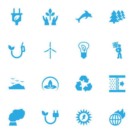 Set Of 16 Bio Icons Set.Collection Of Reforestation, Rubbish, Leaf And Other Elements. Illustration