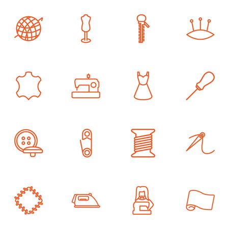 16 바느질 개요 아이콘 집합의 집합입니다. 패치, 단추, 핀쿠션 및 기타 요소의 컬렉션.