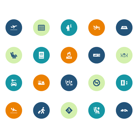 Set Of 20 Airplane Icons Set.Collection Of Letdown, Baggage, Vip And Other Elements.