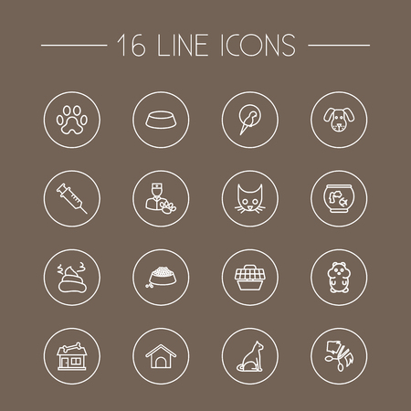 Set Of 16 Animals Outline Icons Set.Collection Of Aquarium, Puppy, Vaccination And Other Elements.