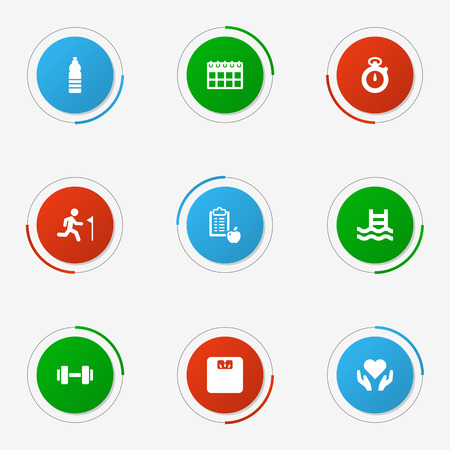 Set Of 9 Fitness Icons Set.Collection Of Date, Body Balance, Barbell And Other Elements.