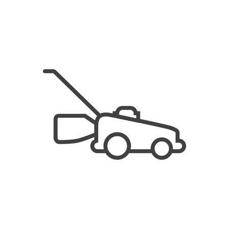 깨끗 한 배경에 Lawnmower 개요 기호를 격리합니다. 트렌디 한 스타일의 벡터 잔디 커터 요소. 일러스트