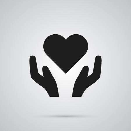 Isolated Health Care Icon Symbol On Clean Background. Vector Heart In Hand Element In Trendy Style. Illustration