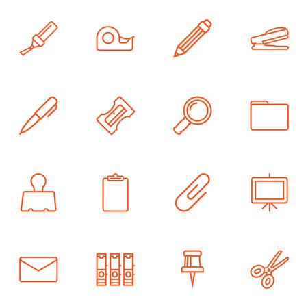 stapled: Set Of 16 Stationery Outline Icons Set.Collection Of Zoom Glasses, Portfolio, Whiteboard And Other Elements.