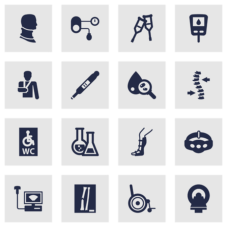 Set Of 16 Healthy Icons Set.Collection Of Handicapped, Stand, Tomography Elements. Vetores